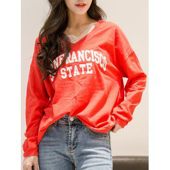V Neck Sanfrancisco State T-Shirt - RED ONE SIZE