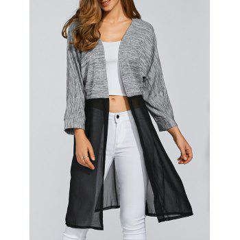 Open Front Chiffon Spliced Cardigan
