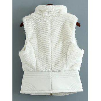 High Neck PU Leather Spliced Faux Fur Waistcoat - WHITE WHITE