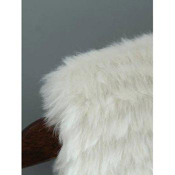 High Neck PU Leather Spliced Faux Fur Waistcoat - WHITE XL