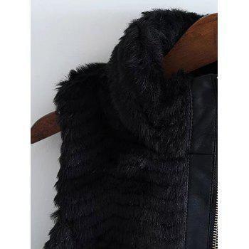 High Neck PU Leather Spliced Faux Fur Waistcoat - BLACK L
