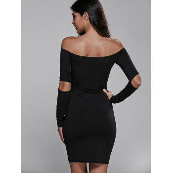 Off Shoulder Cut Out Short Cocktail Dress with Sleeves - S S