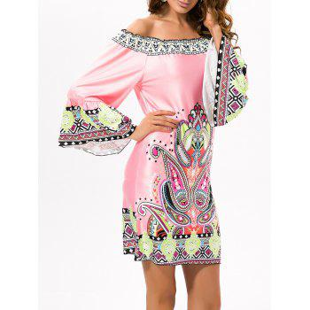 Ethnic Off The Shoulder Casual Printed Dress