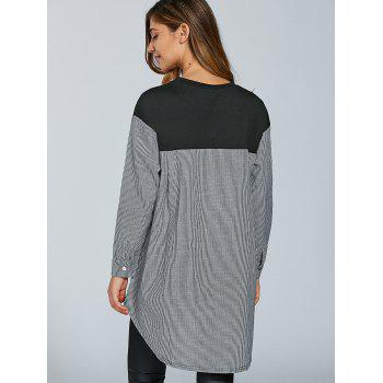 Oversize Stripe Spliced ​​T-shirt - Noir L