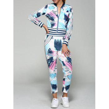 Bomber Running Jacket with Printed Pants