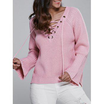 V Neck Long Sleeve Lace Up Sweater - PINK PINK