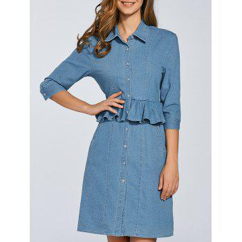 Peplum Denim Shirt Dress With Sleeves