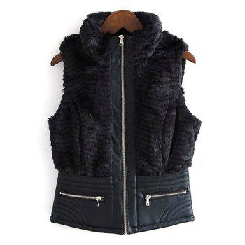 High Neck PU Leather Spliced Faux Fur Waistcoat - BLACK M