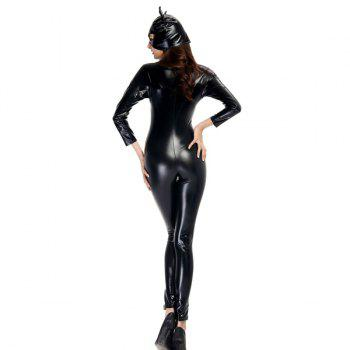 Cool Patent Leather with Kitten Neutral Locomotive Halloween Party Dress Suit - BLACK BLACK