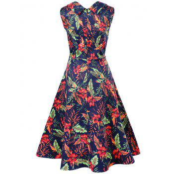 Vintage Swing Sleeveless Print Dress - DEEP BLUE S