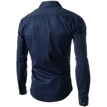 Long Sleeve Gingham Pattern Shirt - DEEP BLUE M