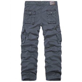 Zip Fly Multi-Pocket Straight Leg Cargo Pants - DEEP GRAY DEEP GRAY