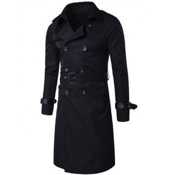 Notched Collar Double Breasted Trench Coat - BLACK BLACK