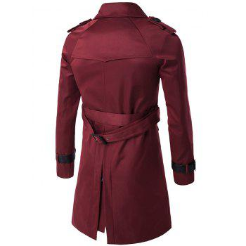 Notched Collar Double Breasted Trench Coat - WINE RED M