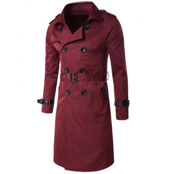 Notched Collar Double Breasted Trench Coat - WINE RED WINE RED