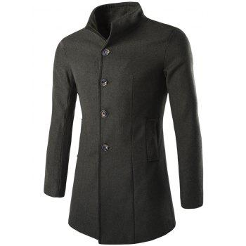 Slim-Fit Wool Blend Stand Collar Coat - ARMY GREEN ARMY GREEN