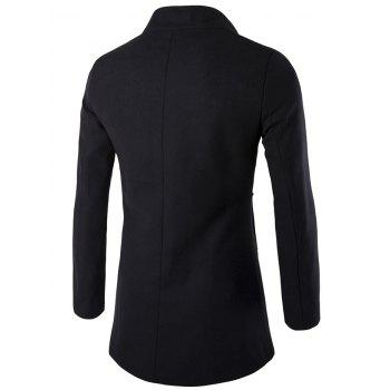 Slim-Fit Wool Blend Stand Collar Coat - BLACK XL