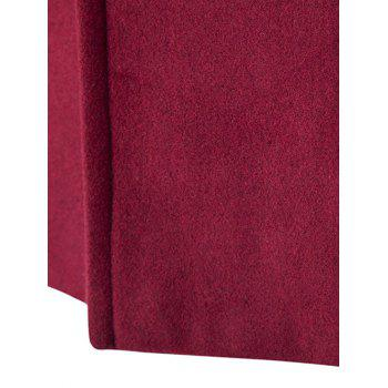 Slim-Fit Wool Blend Stand Collar Coat - WINE RED L