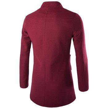 Slim-Fit Wool Blend Stand Collar Coat - WINE RED XL