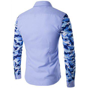 Button Up Camouflage Sleeve Shirt - LIGHT BLUE L