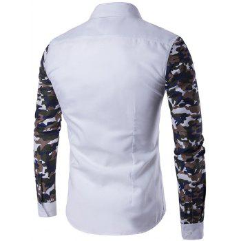 Button Up Camouflage Sleeve Shirt - WHITE M