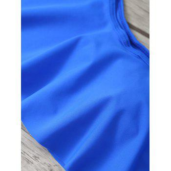 Off The Shoulder Flounce Bikini Swimwear - SAPPHIRE BLUE M