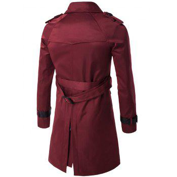 Epaulet Double-Breasted PU-Leather Belt Embellished Trench Coat - WINE RED 2XL