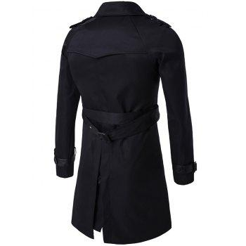 Epaulet Double-Breasted PU-Leather Belt Embellished Trench Coat - BLACK M