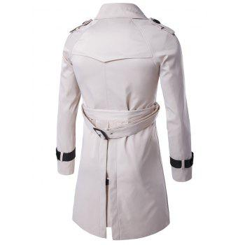 Epaulet Double-Breasted PU-Leather Belt Embellished Trench Coat - OFF WHITE L