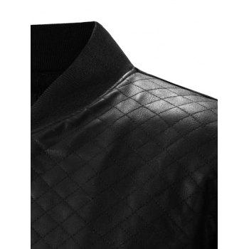 Stand Collar Zip-Up Argyle PU-Leather Splicing Design Jacket - BLACK M
