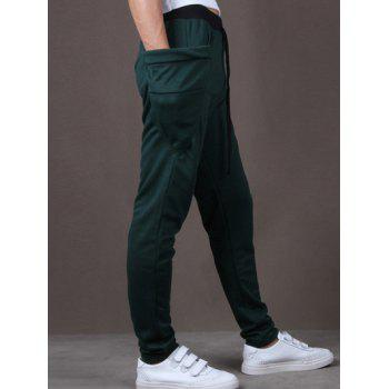 Lace-Up Low-Slung Crotch Narrow Feet Pants - BLACKISH GREEN L