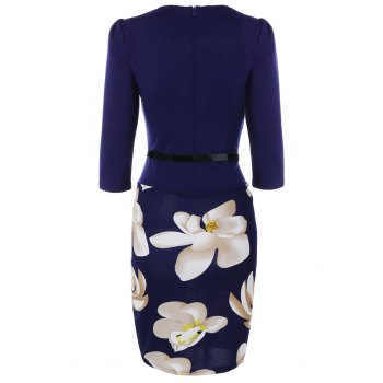 Floral Knee Length Pencil Fitted Work Dress - PURPLISH BLUE S