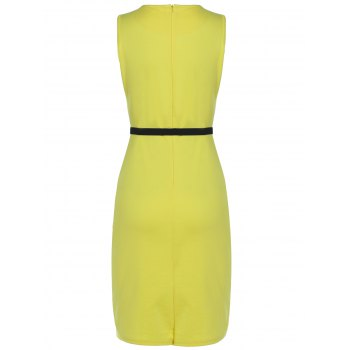 Belted Flower Print Pencil Bodycon Formal Dress - YELLOW M