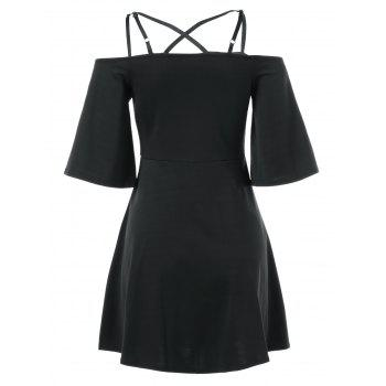 Cami Bell Sleeve Criss Cross Dress - BLACK XL