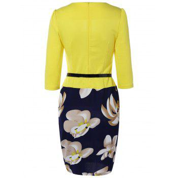 Floral Knee Length Pencil Fitted Work Dress - YELLOW S