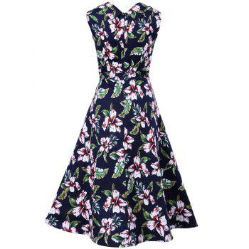 Vintage Sleeveless Print Swing A Line Dress - PURPLISH BLUE L