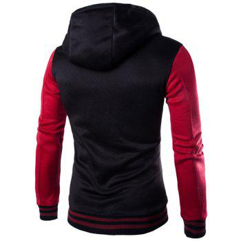Hooded Single-Breasted Drawstring Stripe Rib Splicing Hoodie - WINE RED 2XL