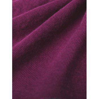 Bowknot Embellished Asymmetrical T-Shirt - RED VIOLET M