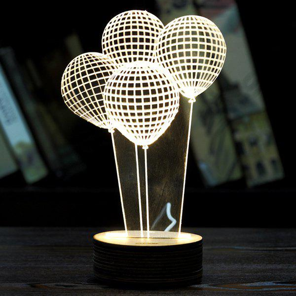 3D LED Balloons Wooden Base Sleeping Atmosphere Visual Night Light - WHITE