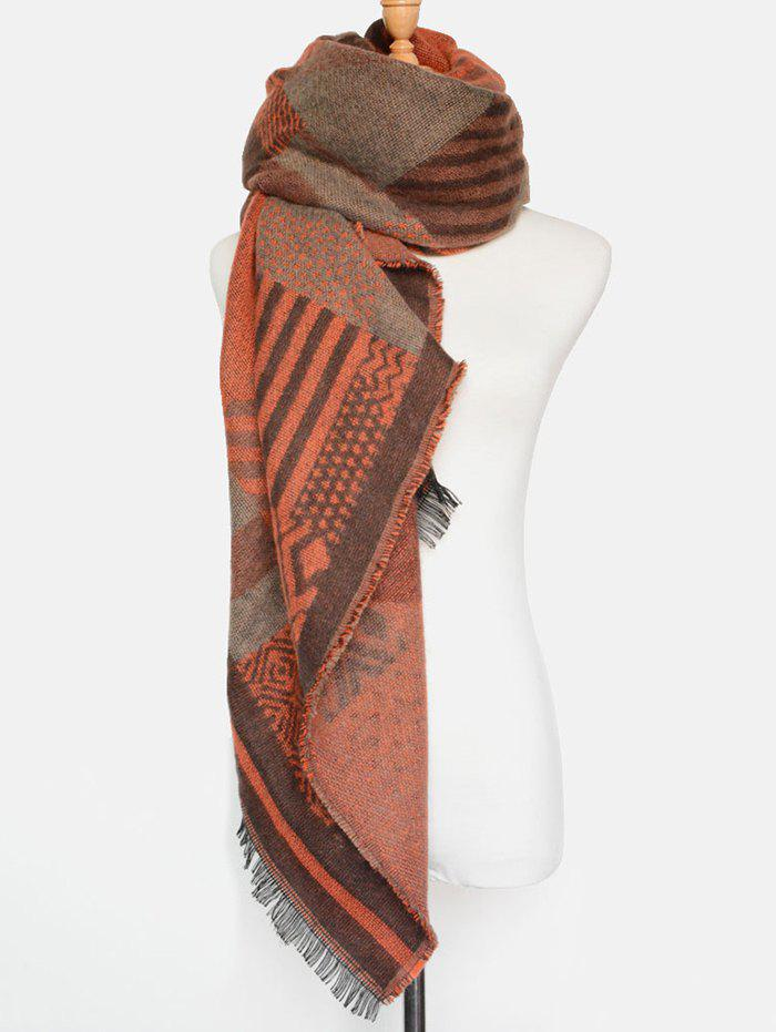 Winter Geometry Fringed Shawl Scarf - ORANGE