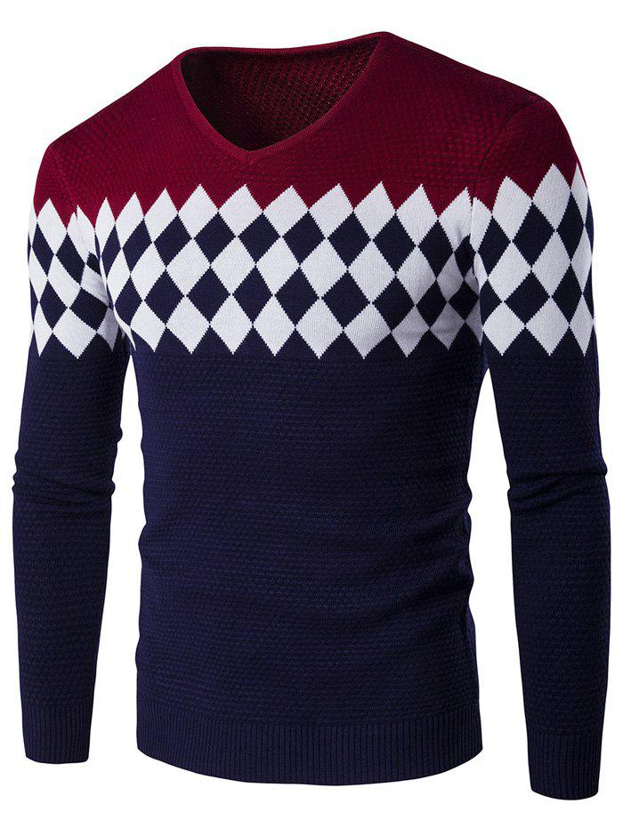 Color Block Rhombus Pattern V-Neck Sweater - WINE RED M