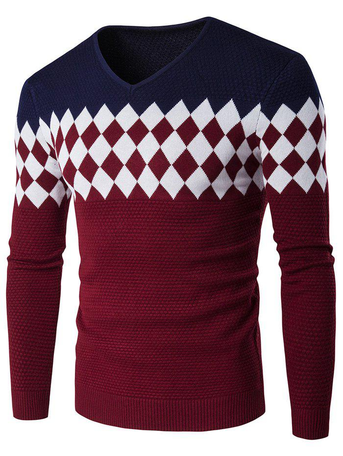 Color Block Rhombus Pattern V-Neck Sweater - CADETBLUE M