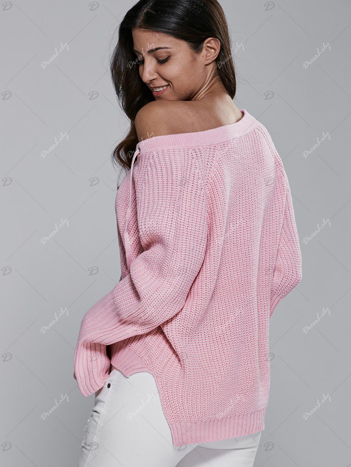 V Neck Long Sleeve Lace Up Sweater - PINK ONE SIZE