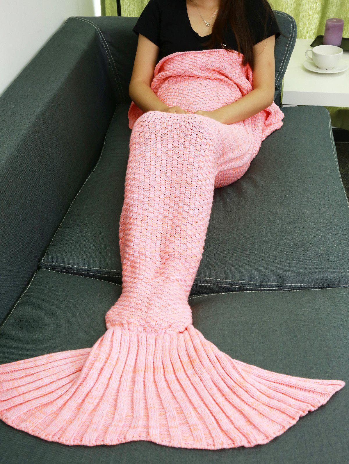 Warmth Braided Decor Knitting Mermaid Tail Style Soft Sofa Blanket - PINK
