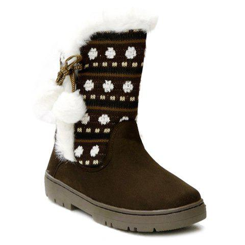 Stylish Knitting and Pompon Design Snow Boots For Women - COFFEE 39