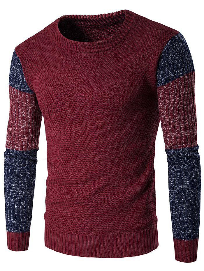 Color Block Crew Neck Space Dyed Sweater - WINE RED L