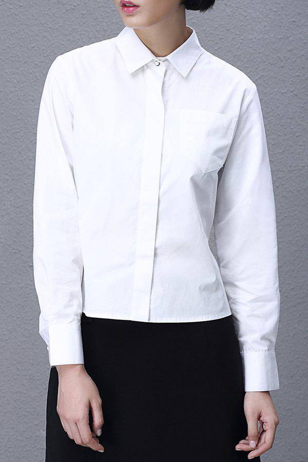 Asymmetric Hem Back Tied Shirt
