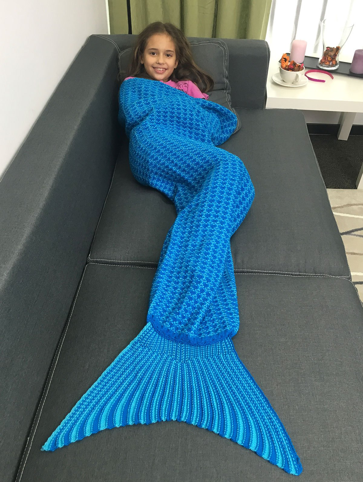 Super Soft Design Acrylic Knitted Mermaid Tail Blanket For KidHome<br><br><br>Color: BLUE