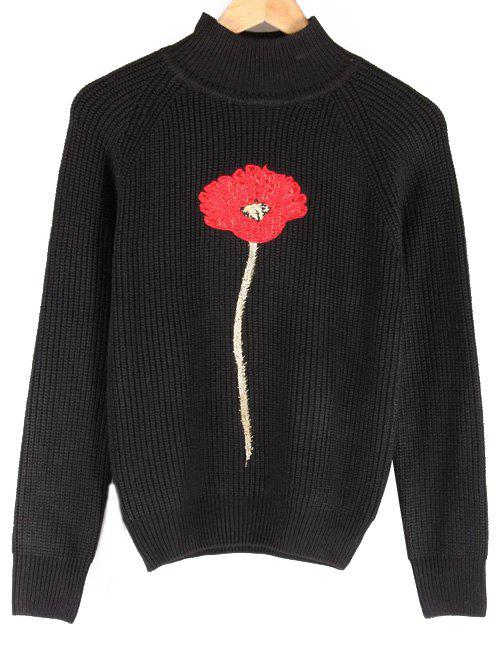 Floral Embroidered Stand Collar Raglan Sleeve Sweater - BLACK L