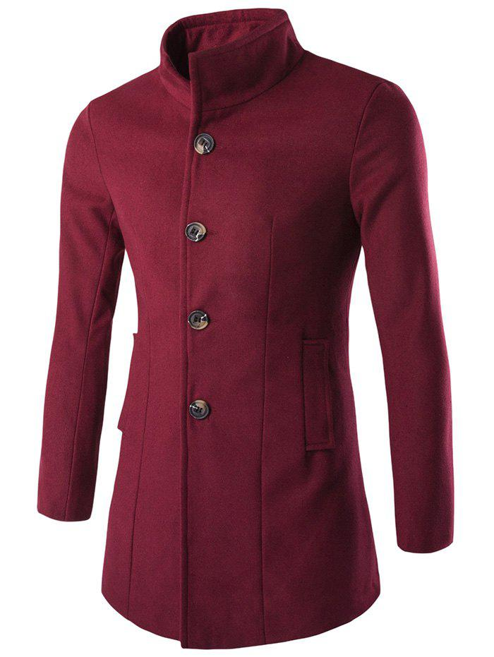Slim-Fit Wool Blend Stand Collar Coat - WINE RED 3XL